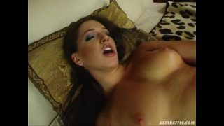 Ass Traffic Brunette in fishnets loves anal fucking and facial