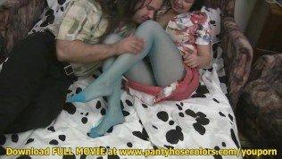 Blue pantyhose hardcore action