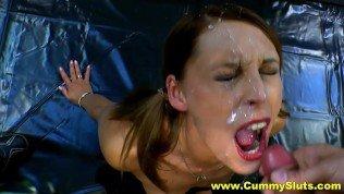 Cock & Cum Hungry Milf Slut Enjoys Hardcore Gangbang