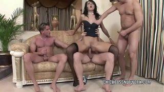 Euro hottie Suzie Diamond takes on three stiff cocks
