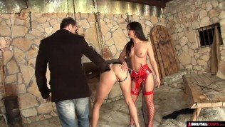 Hardcore threesome punishment in sex dungeon