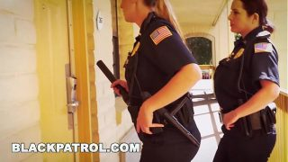 White Cops With Big Tits Riding Big Black Cock On The Job